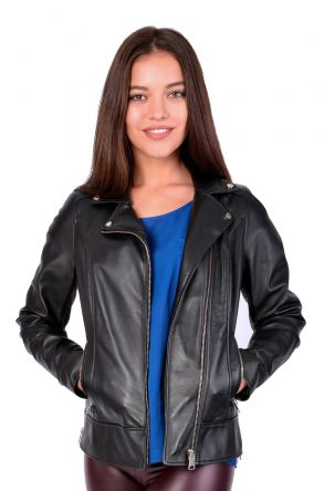 Pegia Women Leather Jacket Black