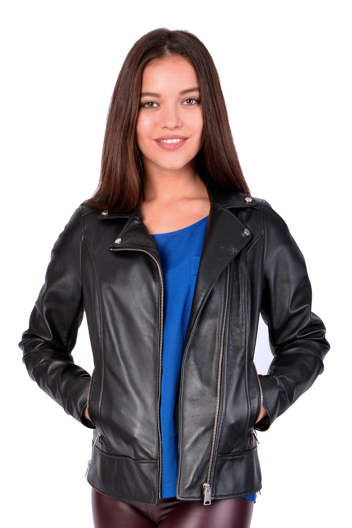 Pegia Женская Куртка Из Натуральной Кожи Черный