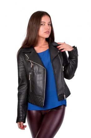 Pegia Zipped Women Leather Jacket Black