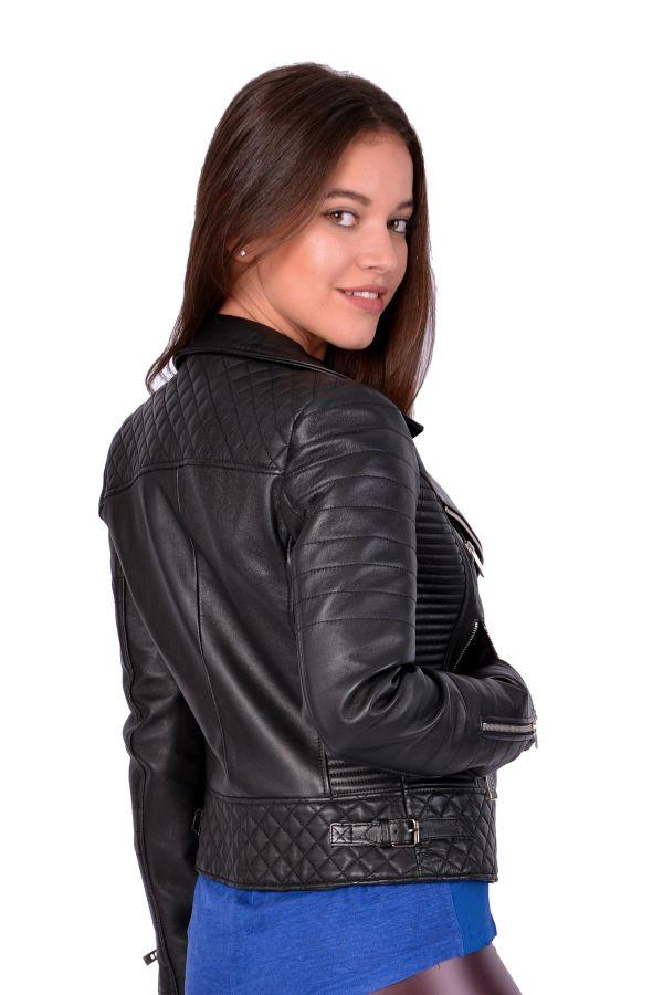 Pegia Hakiki Deri Fermuarlı Kadın Ceket Siyah