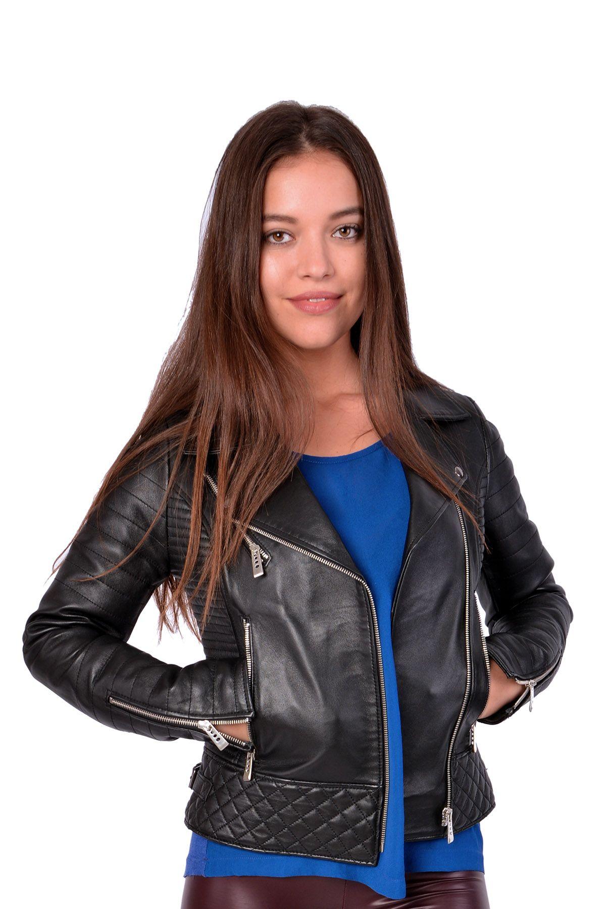 Pegia Zipped Women Leather Jacket Black