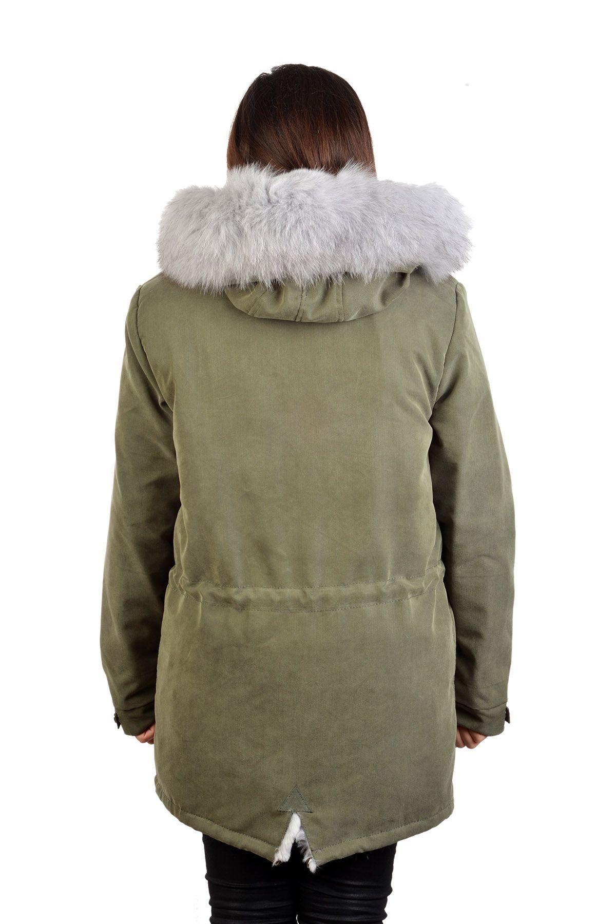 Pegia Женская Куртка Из Натурального Меха С Капюшоном Серый