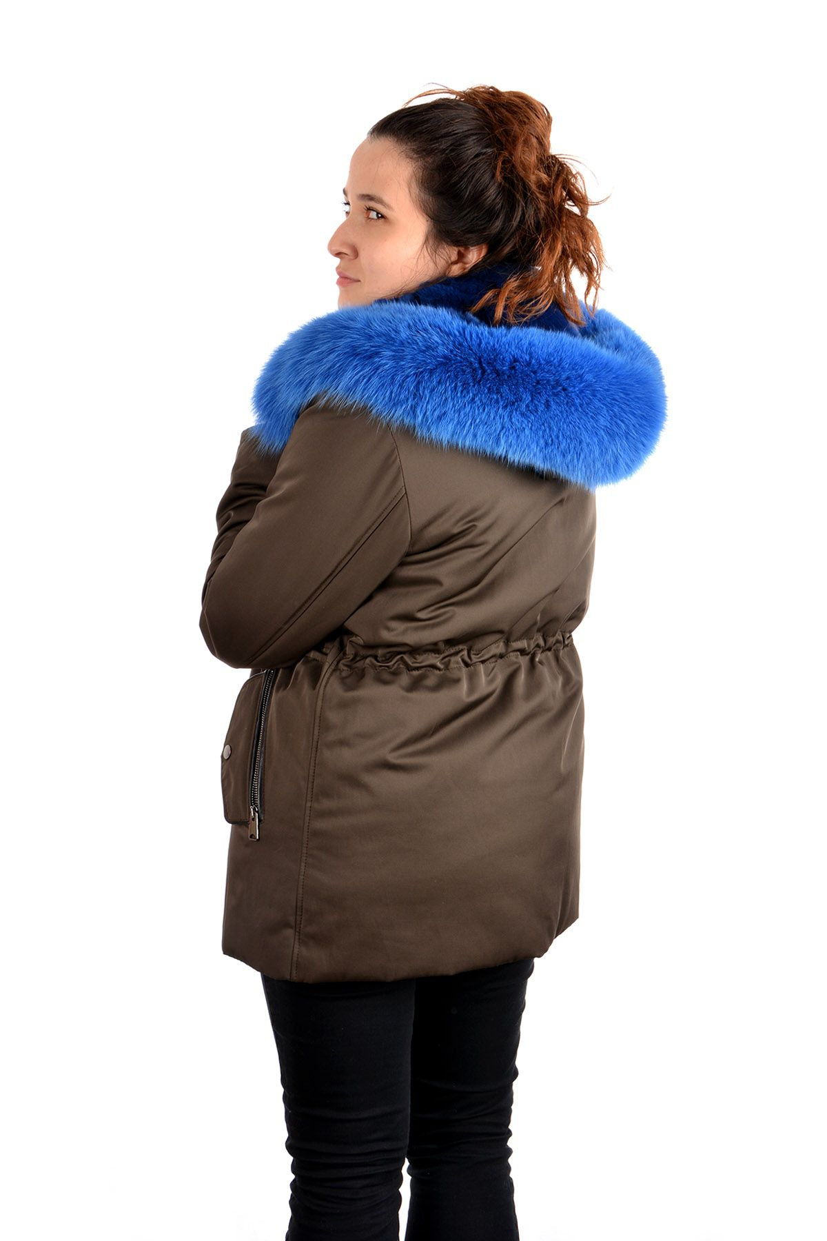 Pegia Women Jacket From Genuine Fur With Detachable Vest Blue
