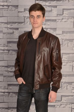 Pegia Zipped Men Leather Jacket Brown