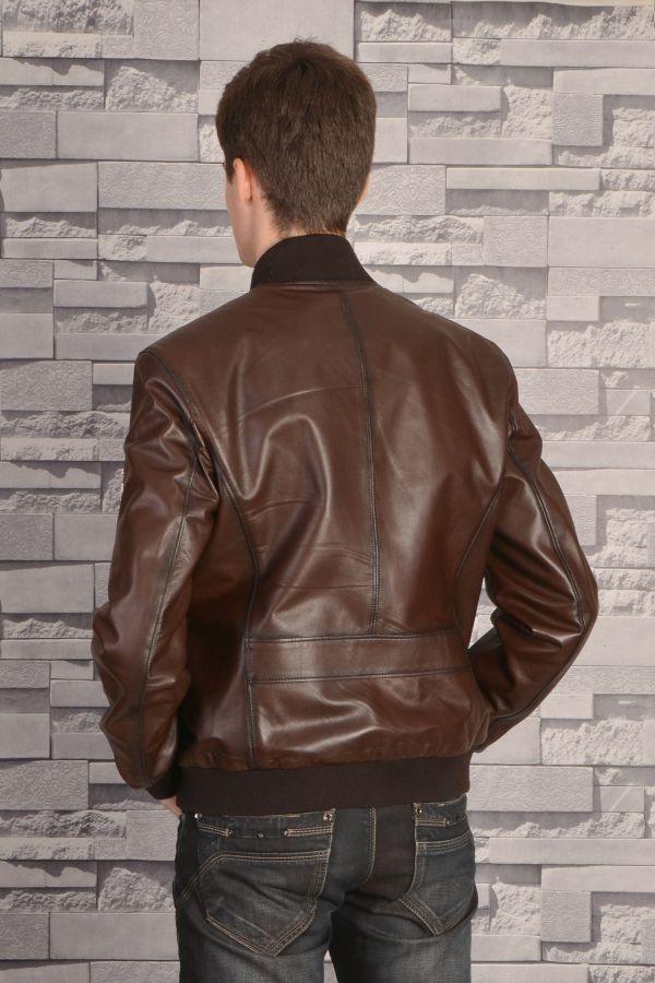 Pegia Zipped Men Leather Jacket Brown