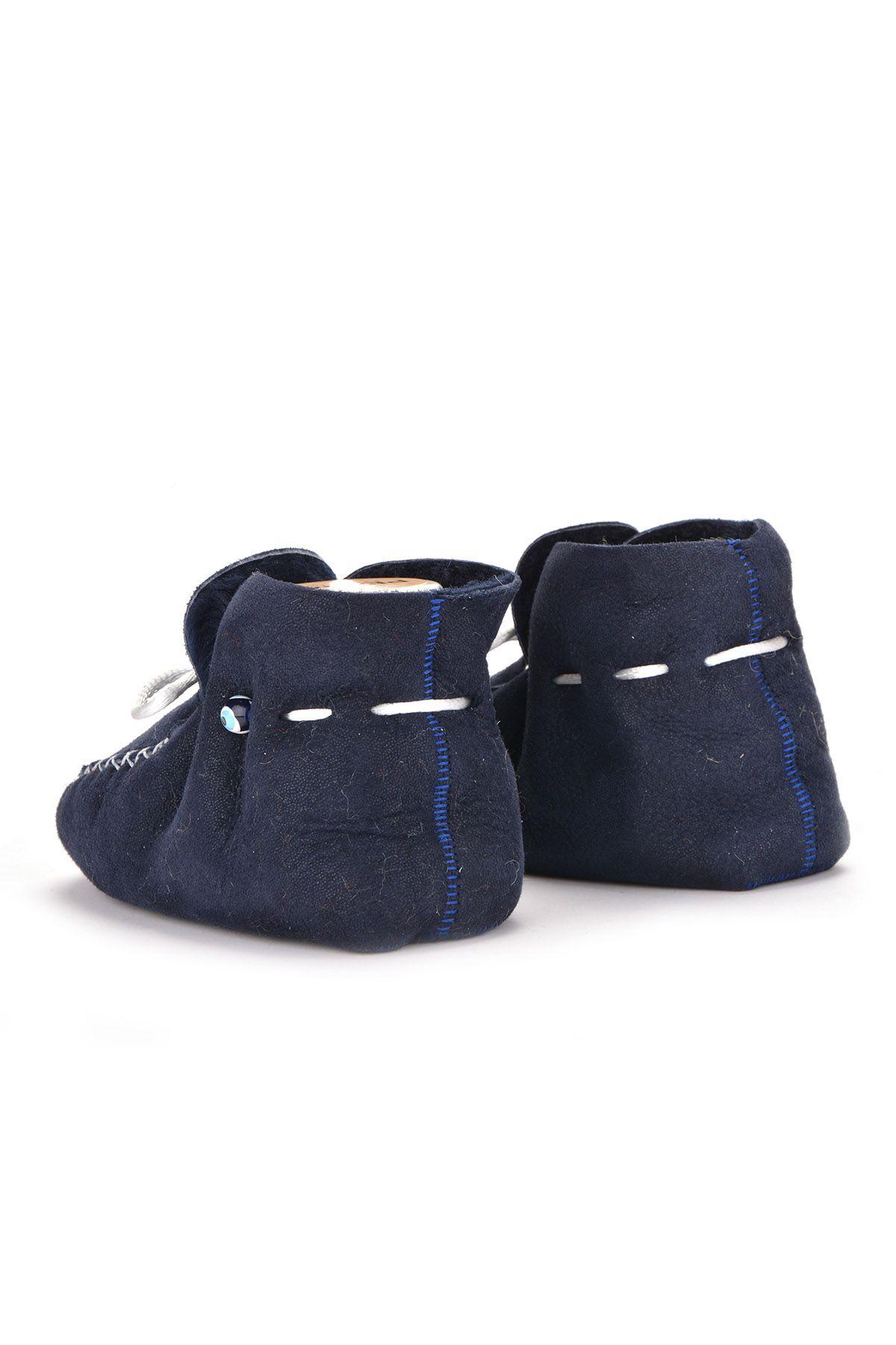 Pegia Hakiki Kürklü Bağcıklı Bebek Patiği 141103 Lacivert