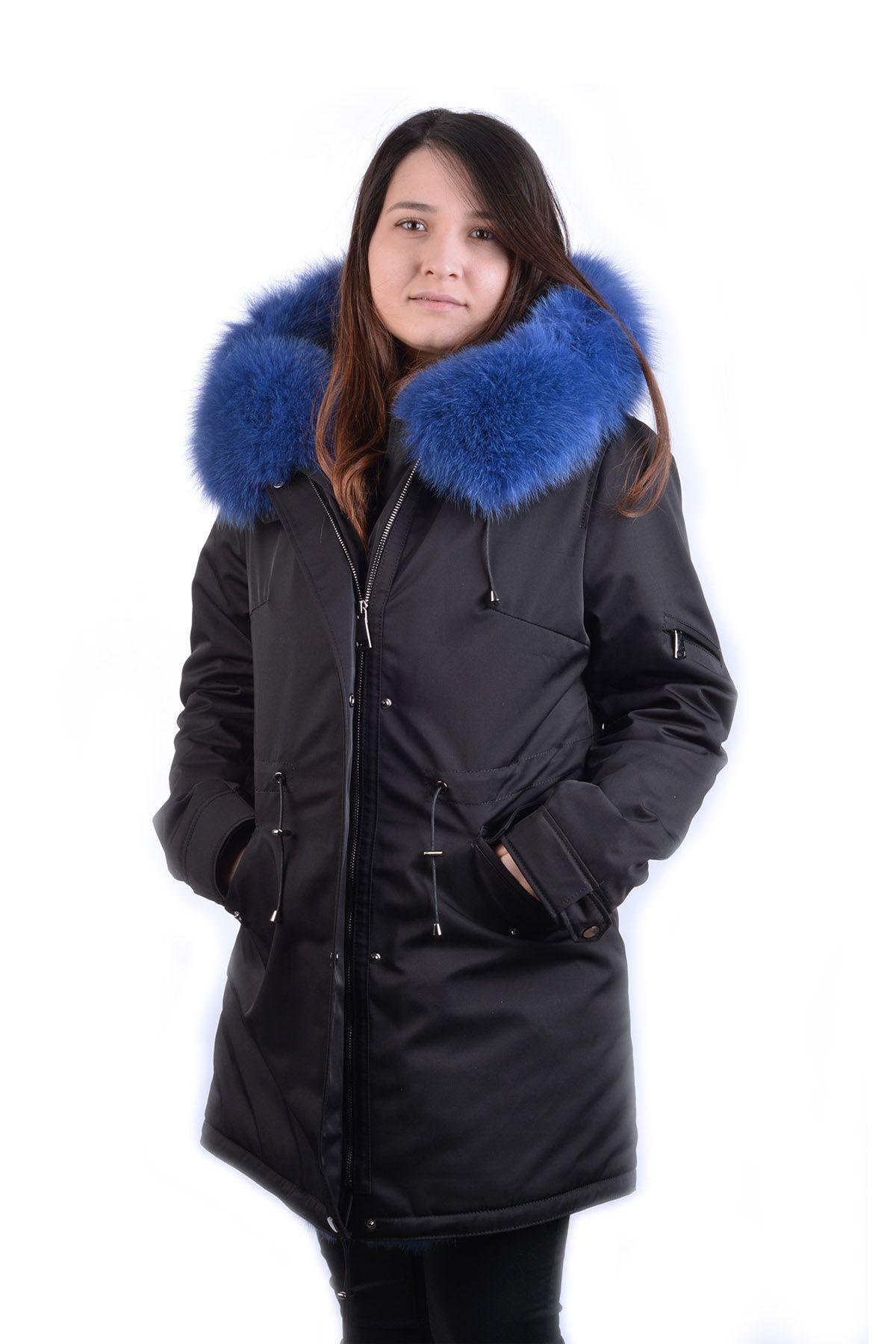 Pegia Hakiki Kürk Kapşonlu Trend Bayan Mont 17CB19 Siyah