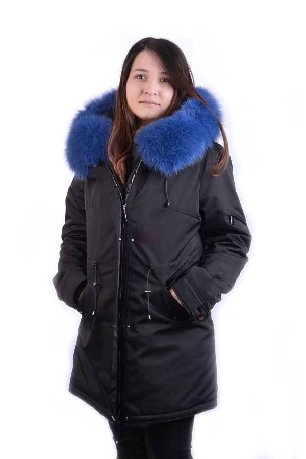 Pegia Women Jacket From Genuine Fur With Capuchon Black
