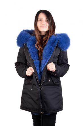 Pegia Женская Куртка Из Натурального Меха С Капюшоном Черный