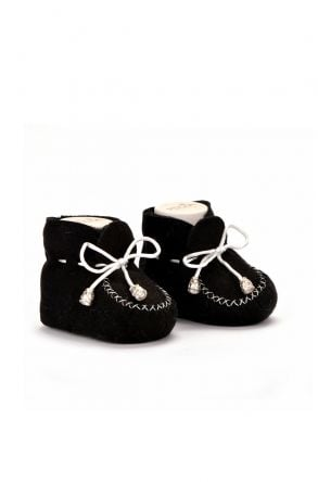 Pegia Hakiki Kürklü Bağcıklı Bebek Patiği Siyah