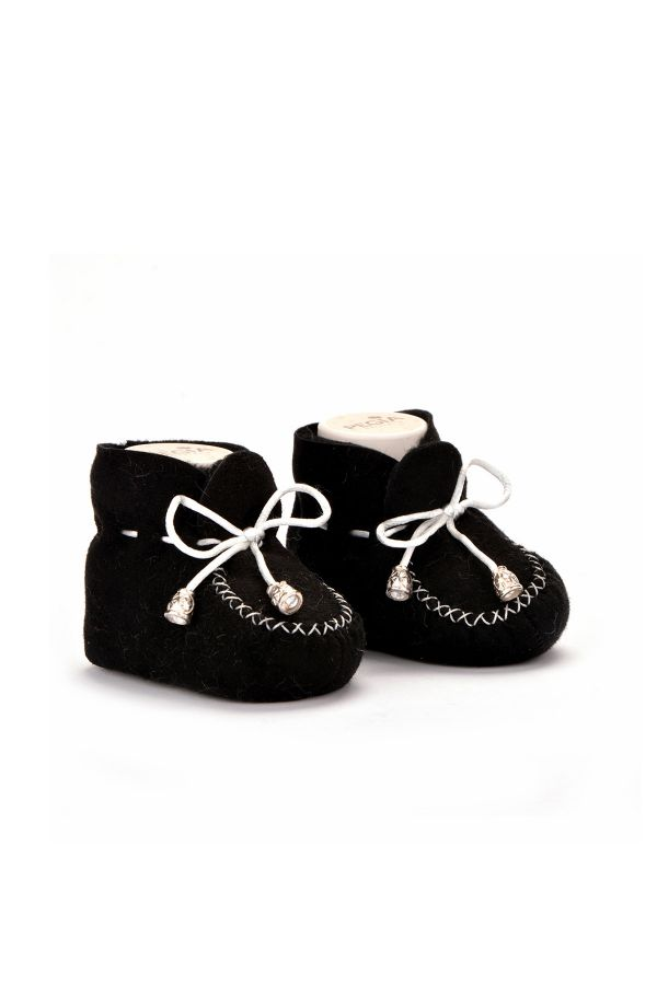 Pegia Laced Kids Booties From Genuine Fur Black