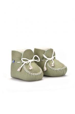 Pegia Hakiki Kürklü Bağcıklı Bebek Patiği Açık Yeşil
