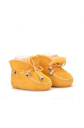Pegia Hakiki Kürklü Bağcıklı Bebek Patiği Sarı