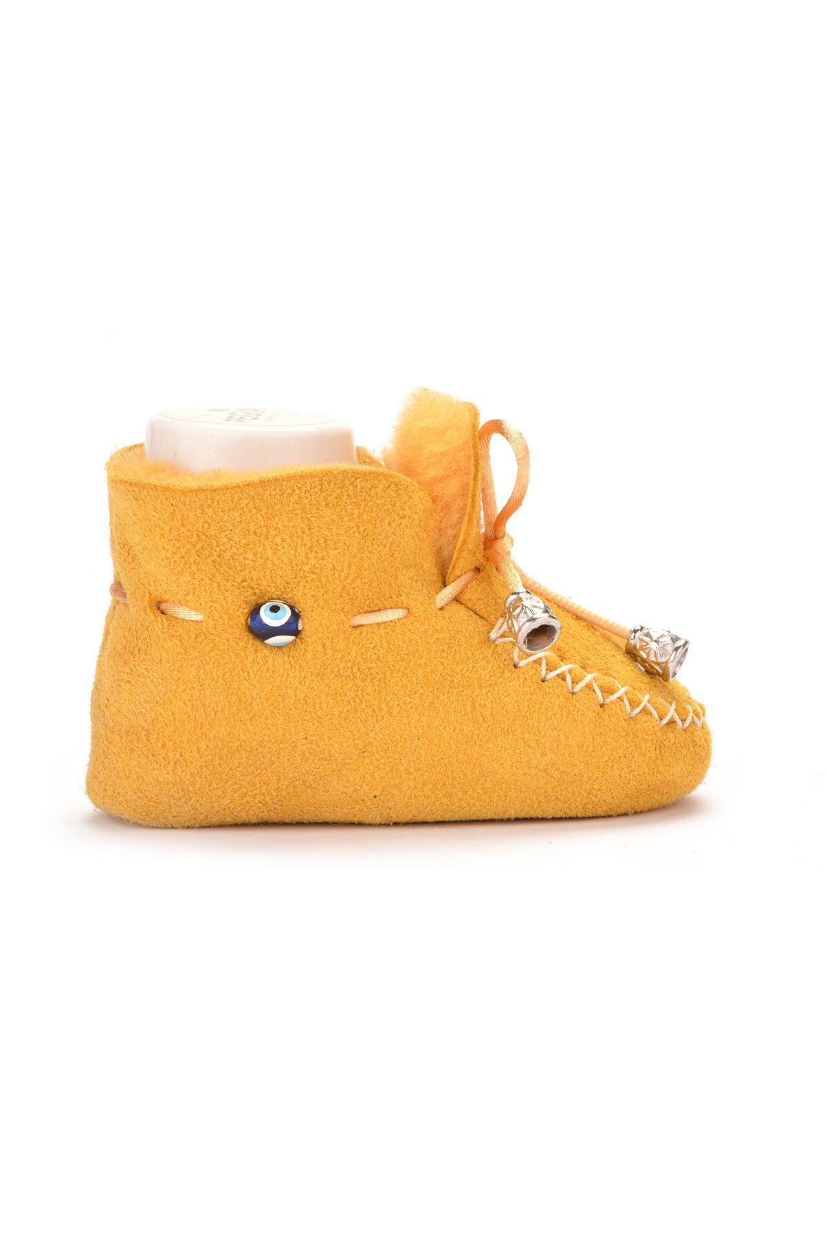 Pegia Laced Kids Booties From Genuine Fur Yellow