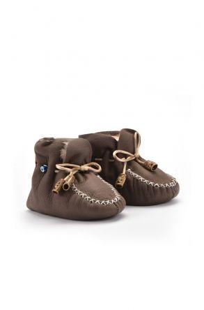 Pegia Hakiki Kürklü Bağcıklı Bebek Patiği 141003 Koyu Kahve