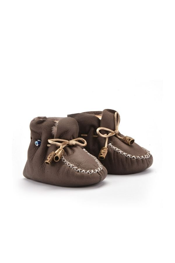 Pegia Laced Kids Booties From Genuine Fur Dark Brown