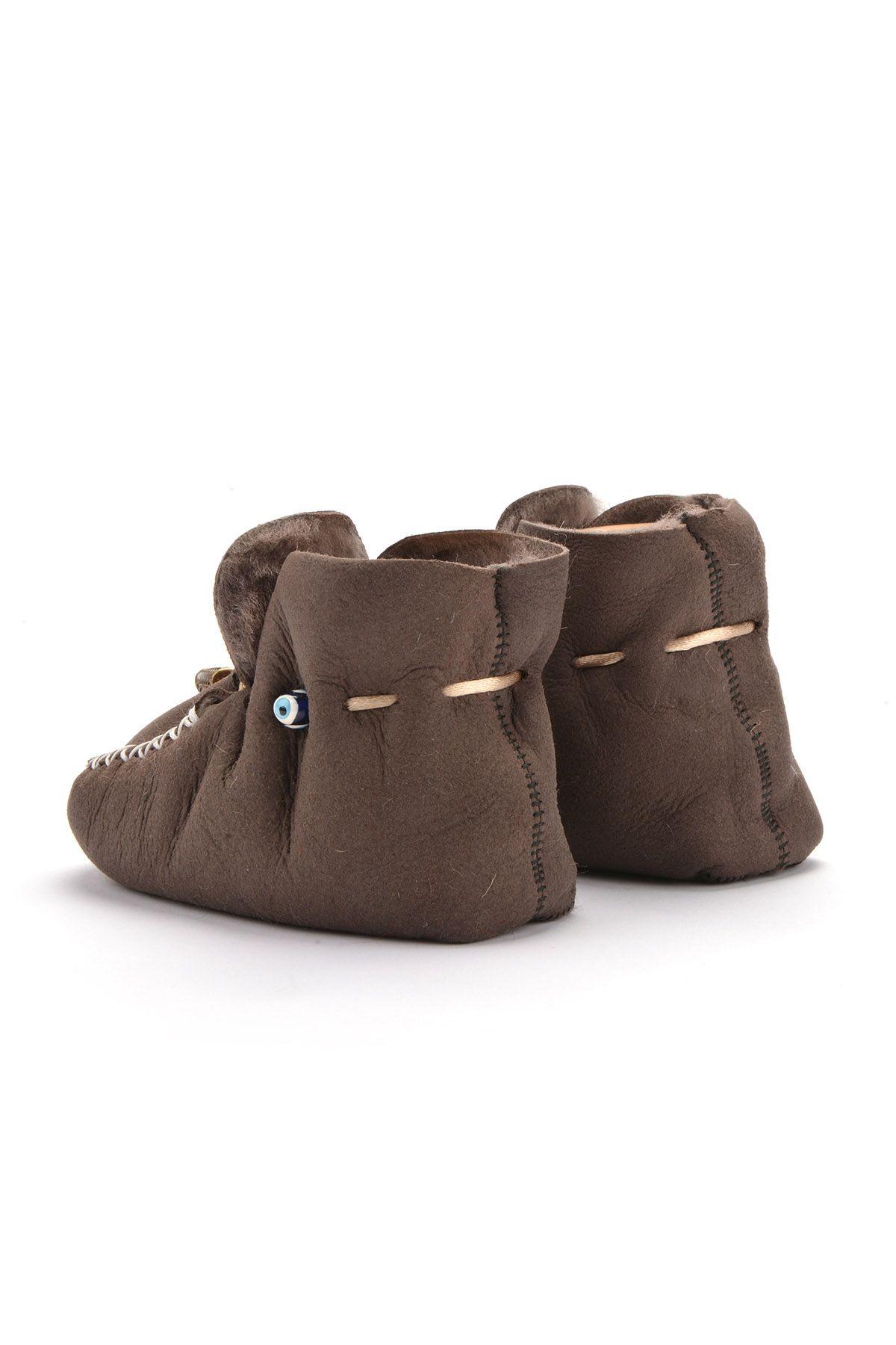 Pegia Laced Kids Booties From Genuine Fur Dark Brown