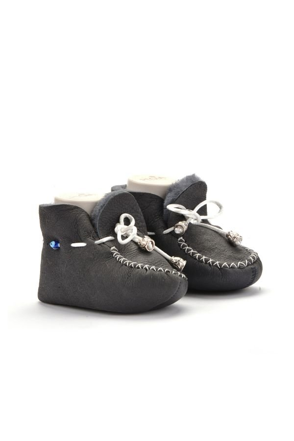 Pegia Laced Kids Booties From Genuine Fur Dark Gray
