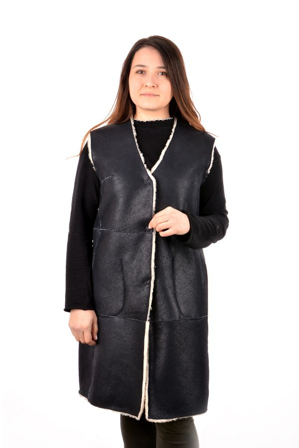 Pegia Women Vest From Genuine Leather And Fur Navy blue