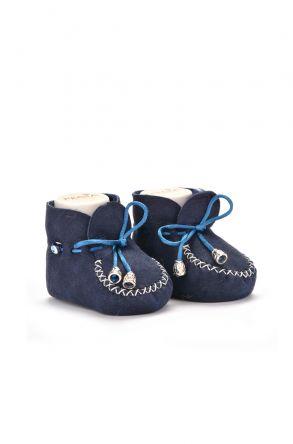 Pegia Hakiki Kürklü Bağcıklı Bebek Patiği 141003 Lacivert
