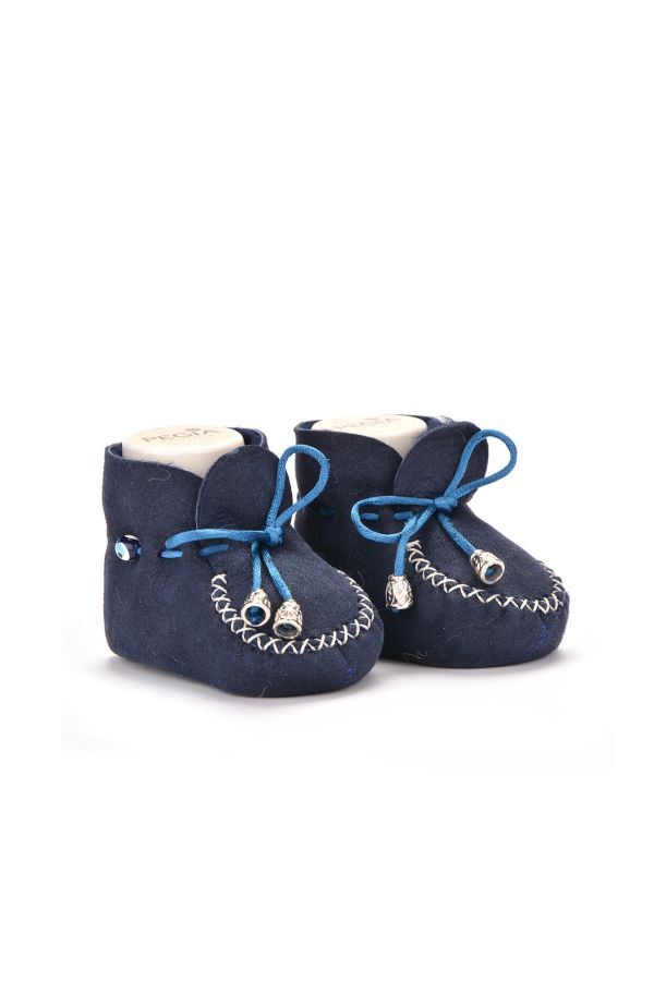 Pegia Laced Kids Booties From Genuine Fur Navy blue