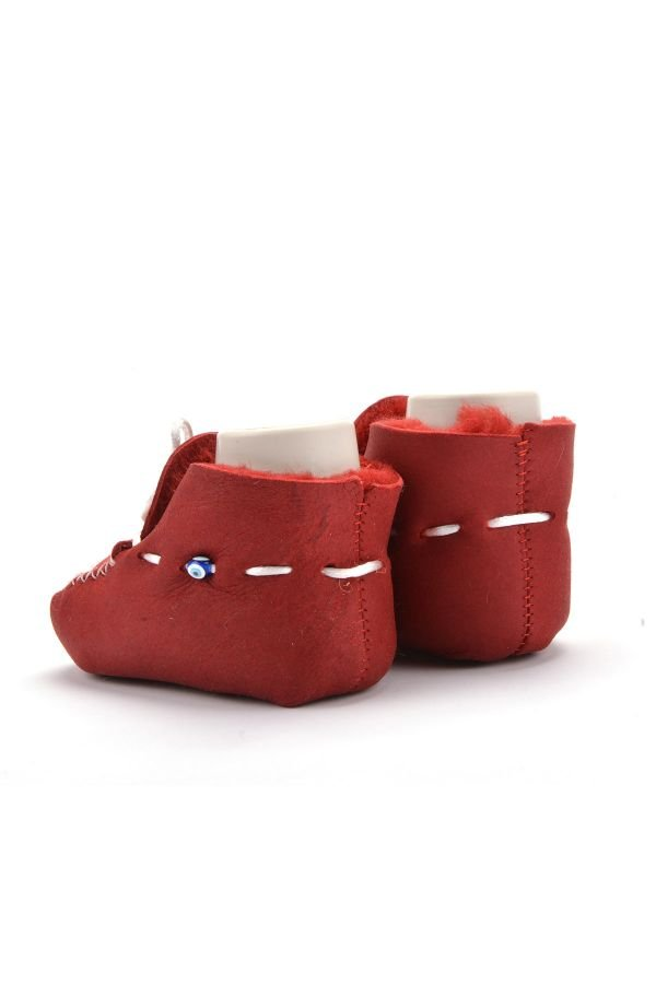 Pegia Laced Kids Booties From Genuine Fur Claret red