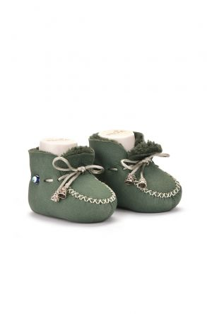 Pegia Laced Kids Booties From Genuine Fur Green