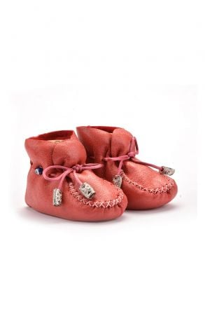 Pegia Hakiki Kürklü Bağcıklı Bebek Patiği Kırmızı