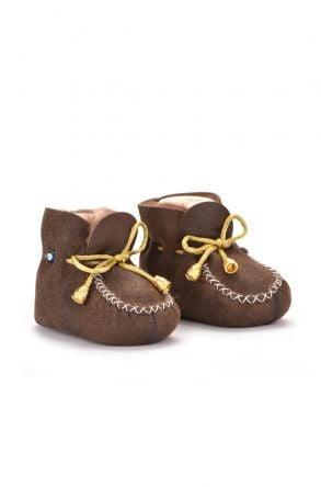 Pegia Hakiki Kürklü Bağcıklı Bebek Patiği 141003 Kahve