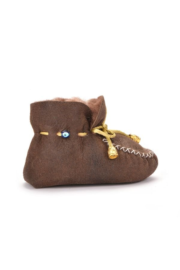 Pegia Laced Kids Booties From Genuine Fur Brown
