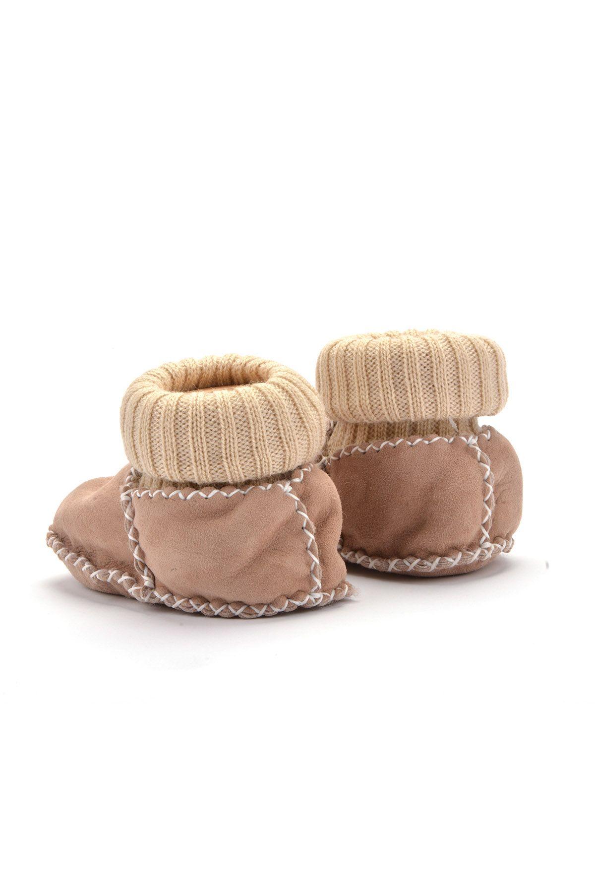Pegia Kids Booties From Genuine Fur Beige