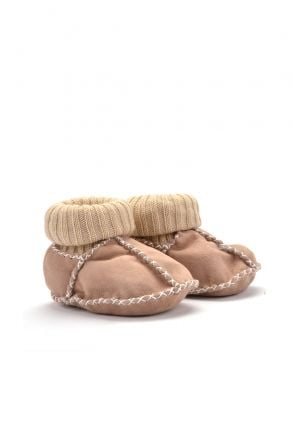 Pegia Kids Booties From Genuine Fur Beige
