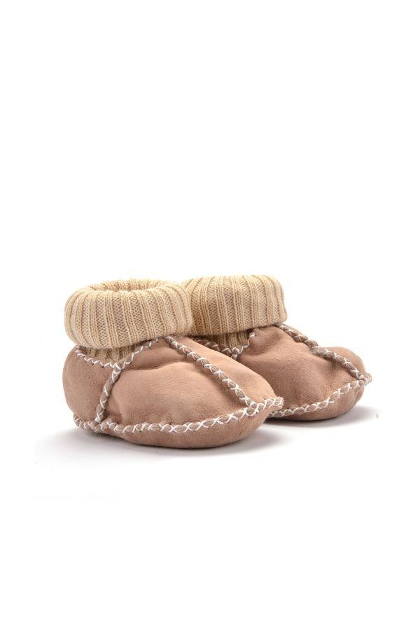 Pegia Hakiki Kürklü Çoraplı Bebek Patiği Bej