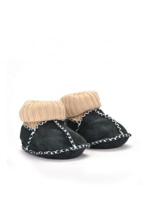 Pegia Kids Booties From Genuine Fur Dark-green
