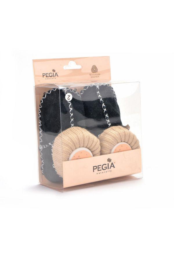 Pegia Kids Booties From Genuine Fur Dark-green