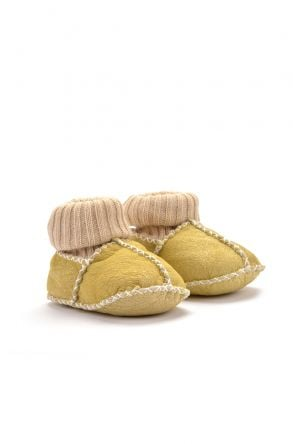 Pegia Kids Booties From Genuine Fur Yellow
