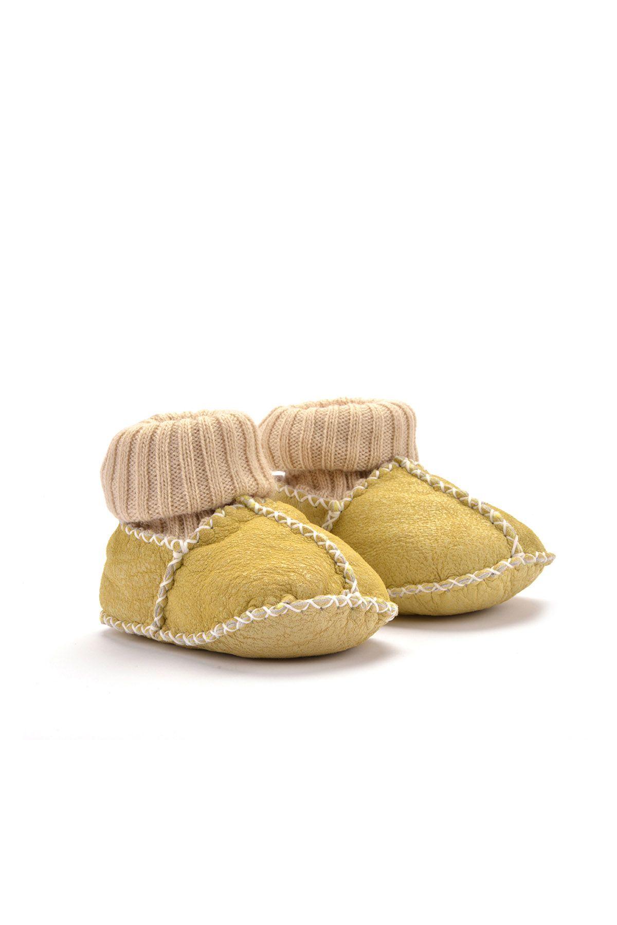 Pegia Hakiki Kürklü Çoraplı Bebek Patiği Sarı
