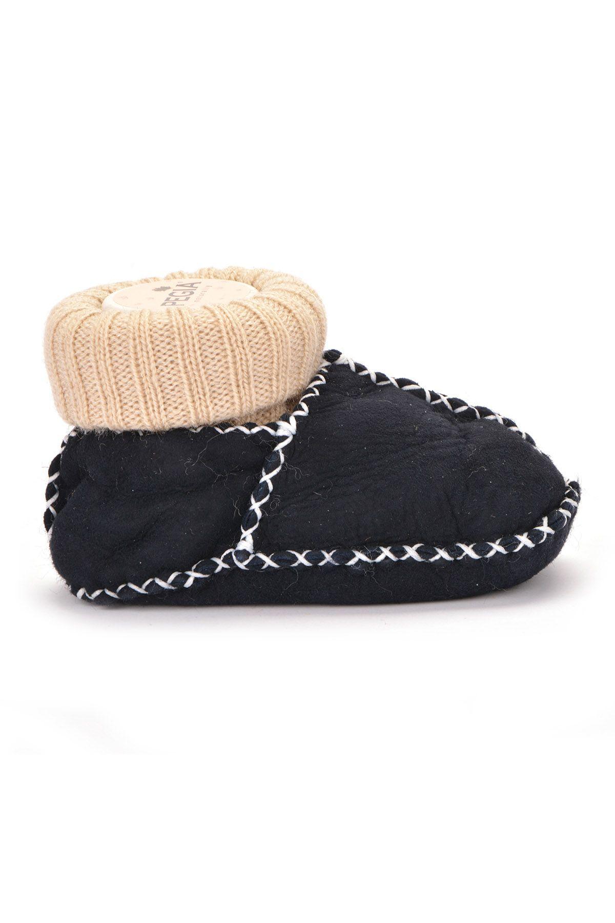 Pegia Hakiki Kürklü Çoraplı Bebek Patiği Füme