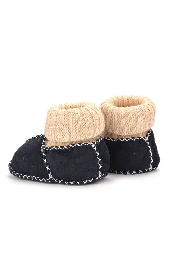 Pegia Kids Booties From Genuine Fur Dark Gray