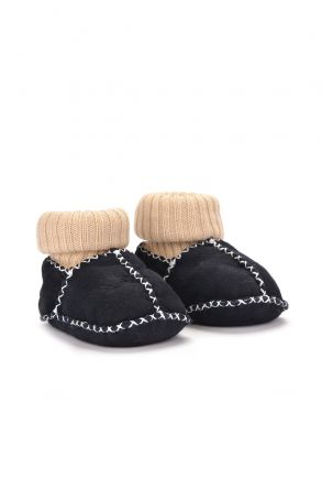 Pegia Kids Booties From Genuine Fur Dark Gray