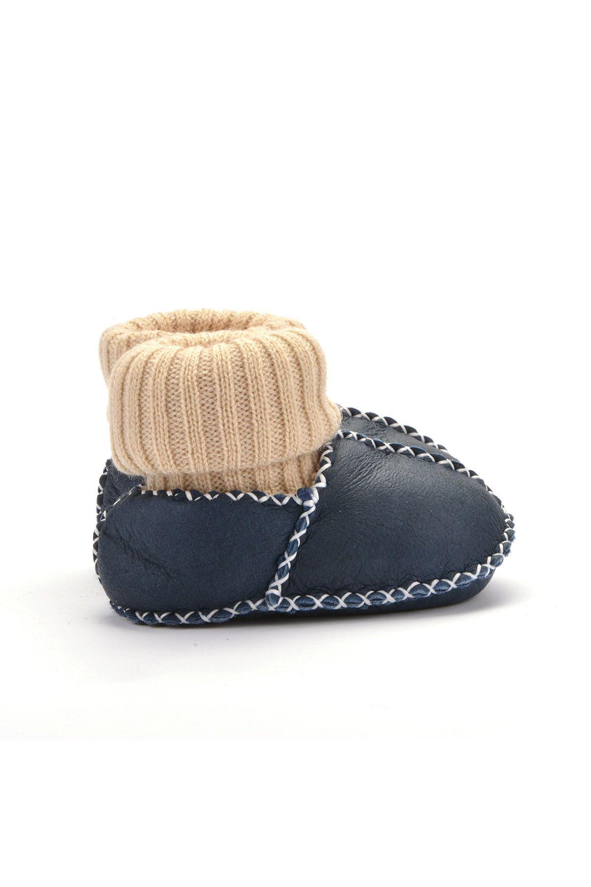 Pegia Kids Booties From Genuine Fur Navy blue