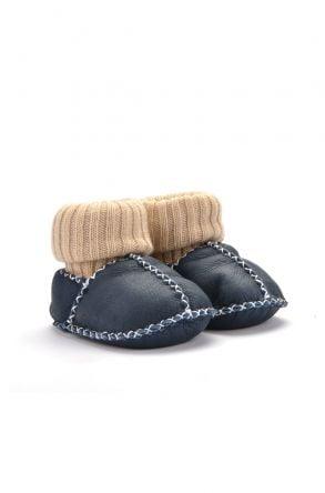 Pegia Hakiki Kürklü Çoraplı Bebek Patiği Lacivert