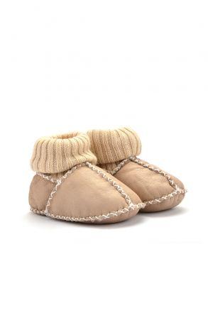 Pegia Hakiki Kürklü Çoraplı Bebek Patiği Krem