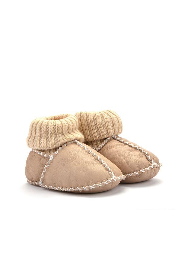 Pegia Kids Booties From Genuine Fur Cream