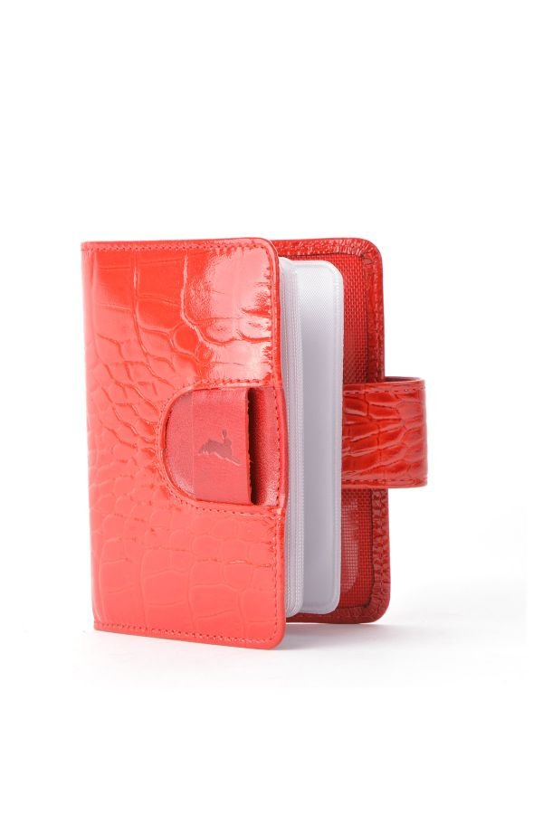 White Rabbit Wallet From Polished Leather With Snake Pattern Red