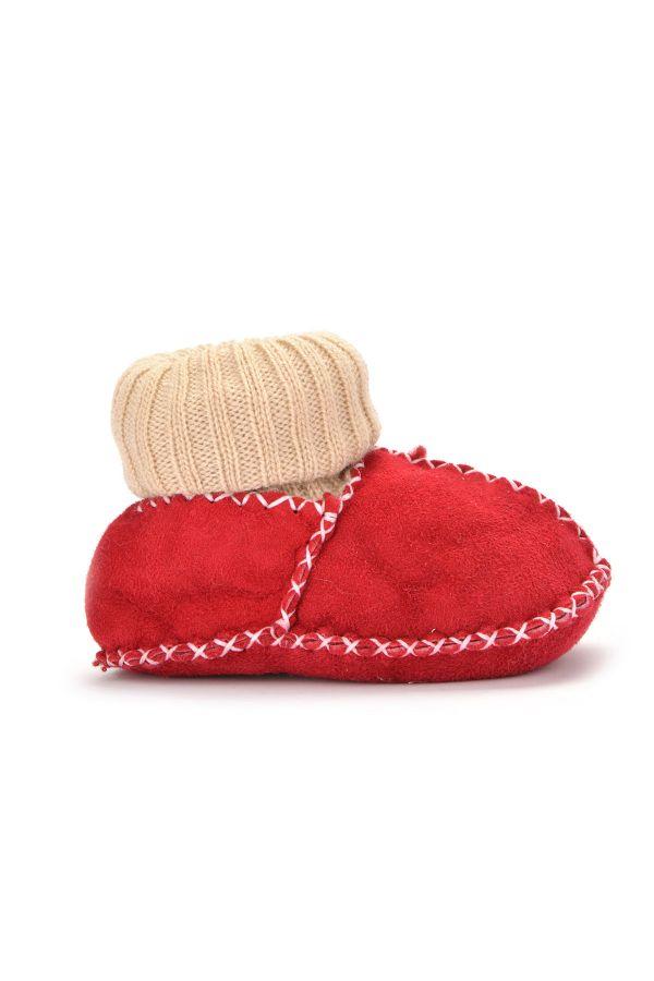 Pegia Hakiki Kürklü Çoraplı Bebek Patiği Kırmızı