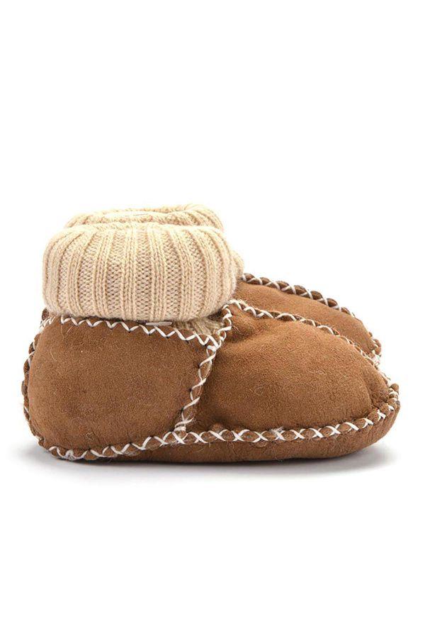 Pegia Kids Booties From Genuine Fur Brown