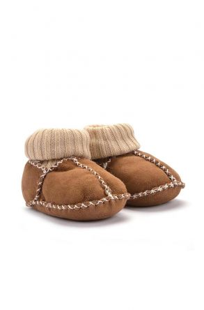 Pegia Kids Booties From Genuine Fur Brown