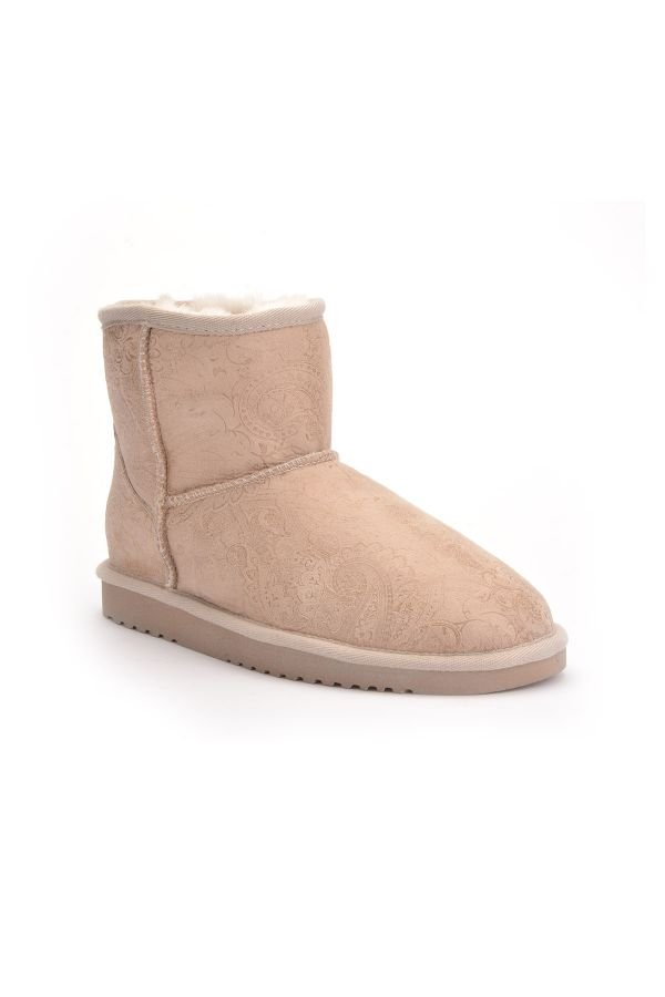 Cool Moon Women Uggs From Genuine Fur With Shawl Pattern Beige