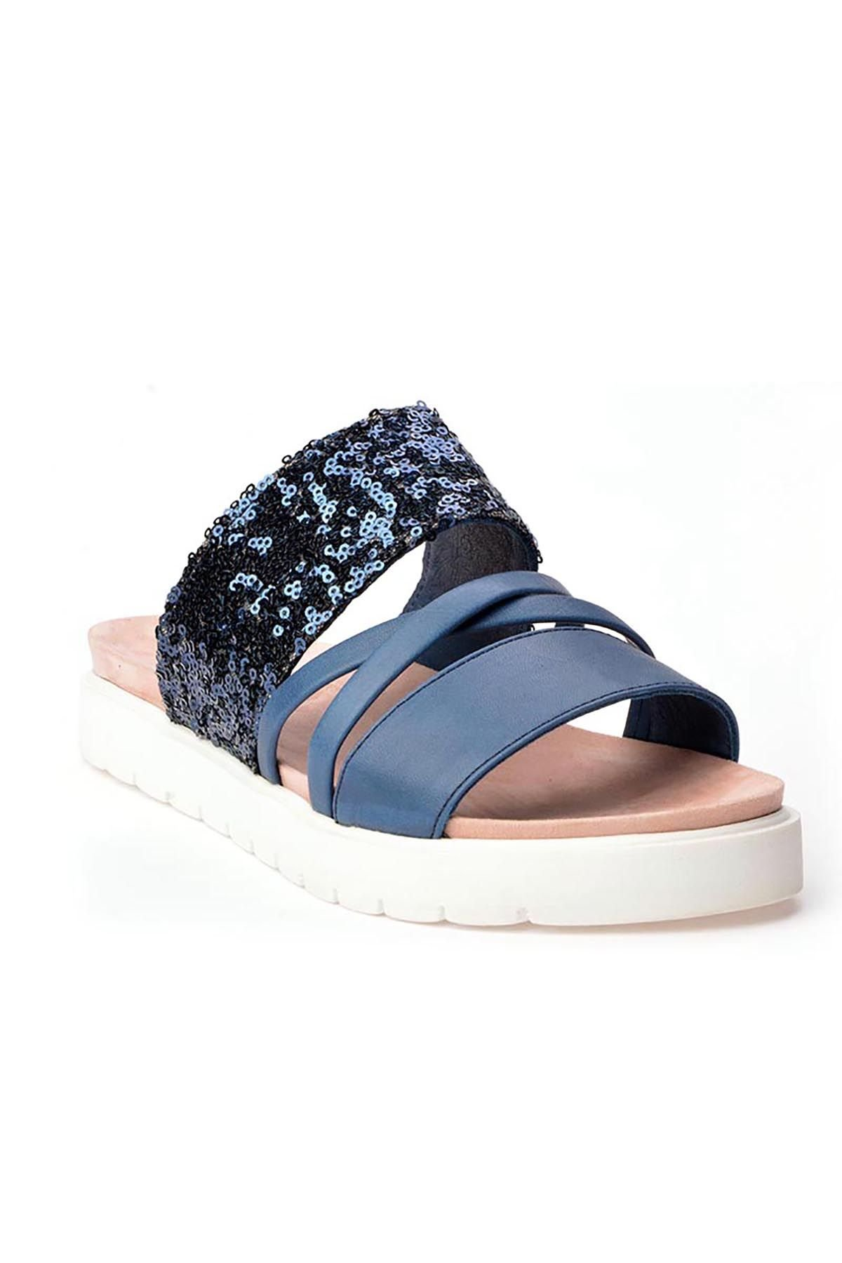 Pegia Alesia Women Slippers From Genuine Leather Blue
